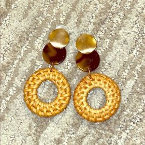 Red Dress Boutique Tortoise, Gold & Straw Earrings